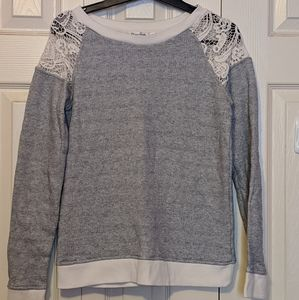 Sweaters - Striped Lace Shoulder Sweater